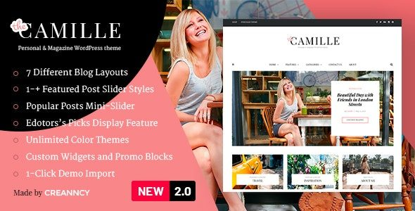 Camille Personal & Magazine WordPress Theme Nulled v.2.2