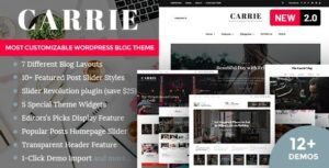Carrie Personal & Magazine WordPress Theme Nulled v.2.0.1