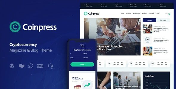 Coinpress – ICO Cryptocurrency Magazine & Blog Theme Nulled v.1.0.3