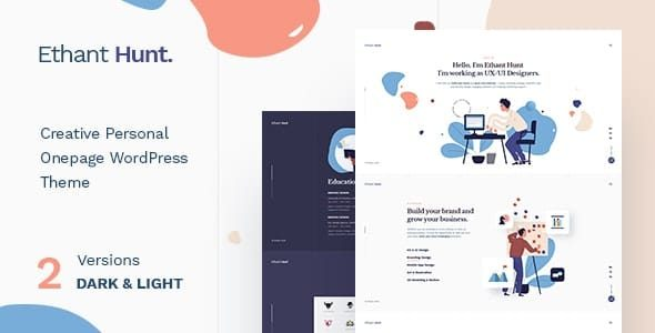 Ethant Hunt Personal Onepage WordPress Theme Nulled v.1.0.1