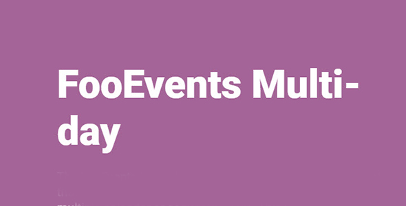 FooEvents Multi day