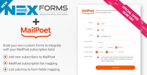 NEX-Forms MailPoet Add-on Nulled v.7.5.1