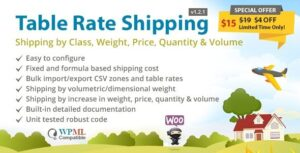 Table Rate Shipping by Class, Weight, Price, Quantity & Volume for WooCommerce Nulled v.4.2.1