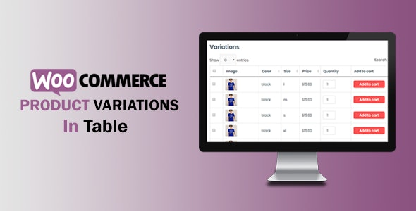 WooCommerce Variations In Table