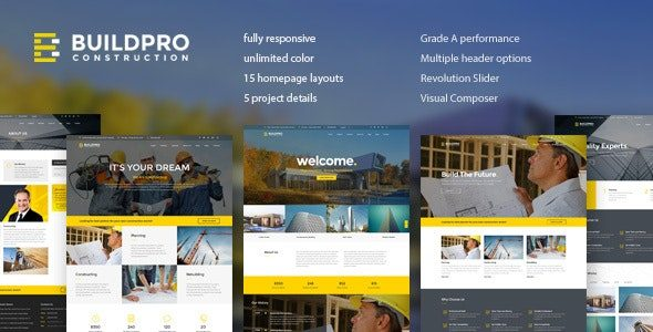 BuildPro Business, Building & Construction WordPress Theme Nulled v.1.0.9.8