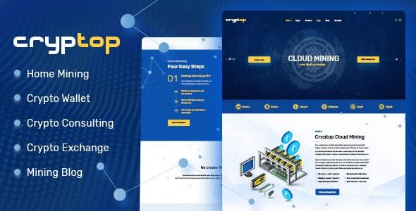 CrypTop ICO Landing and CryptoCurrency WordPress Theme