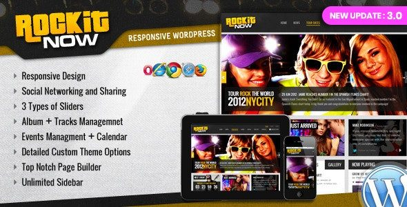 Rockit Now Music Band WordPress Theme Nulled v.3.0