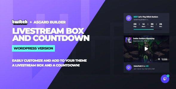 Twitch LiveStream Box and Countdown WordPress Plugin Nulled v.1.1.1