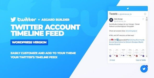 twitter Timeline Feed WordPress Plugin