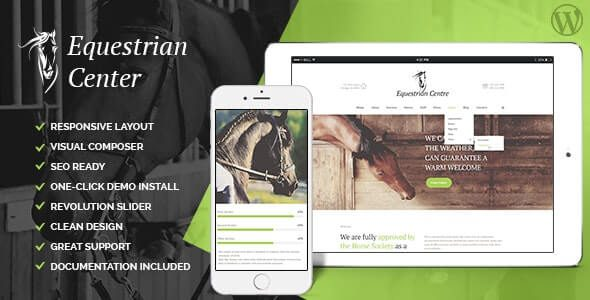Equestrian Centre & Horse riding School Hippodrome WordPress Theme