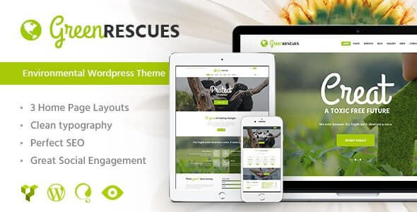 Green Rescues Environment Protection Antipollution Eco WordPress Theme
