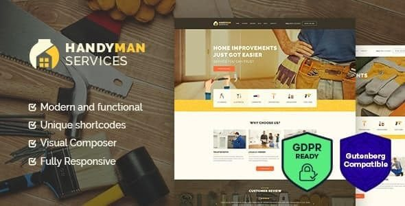 Handyman | Construction and Repair Services Building WordPress Theme Nulled