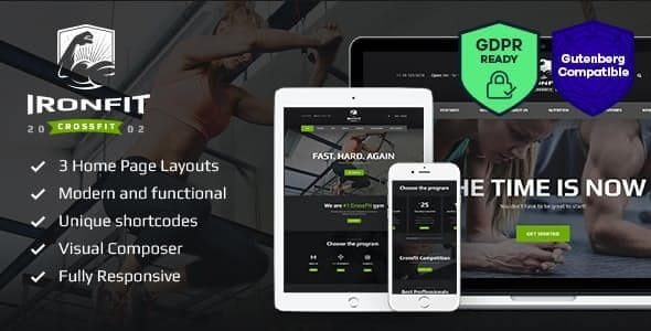 Iron fit Fitness, Gym and Crossfit WordPress Theme