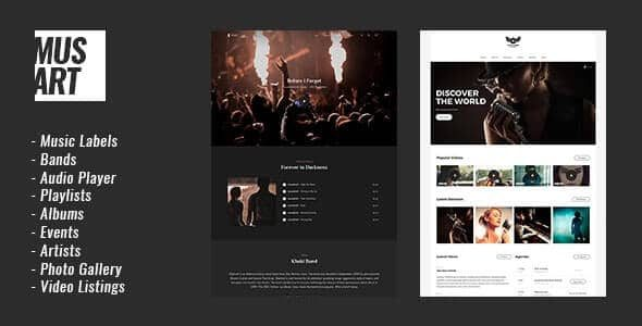 Musart v1.1.3 Music Label and Artists WordPress Theme Nulled