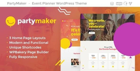 PartyMaker v1.1.4 Event Planner & Wedding Agency WordPress Theme Nulled