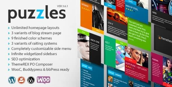 Puzzles WP Magazine Review with Store WordPress Theme RTL