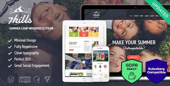 SevenHills Hiking Summer Camp Children WordPress Theme