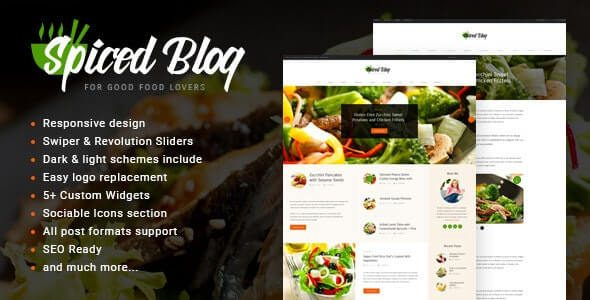 Spiced Blog A Crisp Recipes & Food Personal Page WordPress Theme