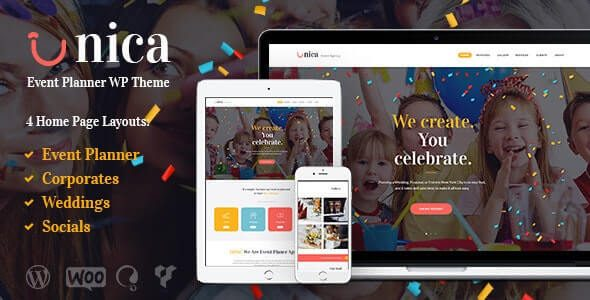 Unica Event Planning Birthday & Wedding Agency WordPress Theme