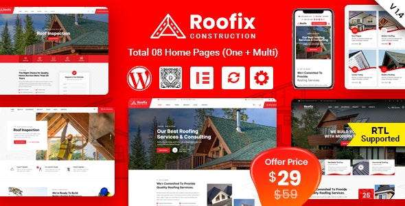 Roofix v1.4.3 Nulled – Roofing Services WordPress Theme