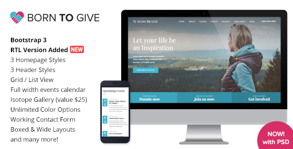 Born To Give v2.8.1 Nulled – Charity Crowdfunding Responsive WordPress Theme