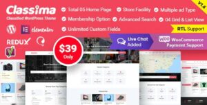 Classima v1.8.2 Nulled – Classified Ads WordPress Theme