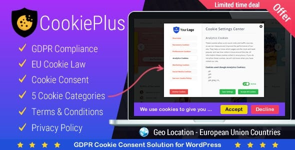 Cookie Plus GDPR v1.6.0 Nulled – GDPR Cookie Consent Solution for WordPress