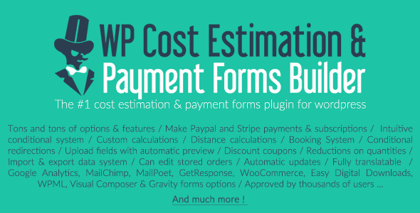 WP Cost Estimation & Payment Forms Builder v9.746 Nulled