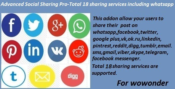 Advanced Social Sharing Pro For WoWonder 8-30-21 Nulled
