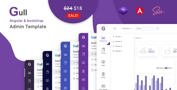 Gull v1.1.0 Nulled (Angular 12+ Bootstrap Admin Dashboard Template 1 August 21)