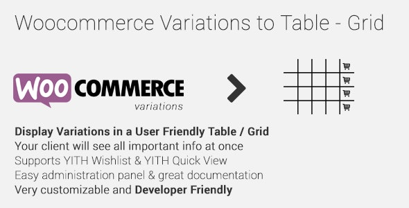 Woocommerce Variations to Table v1.4.2 Nulled (Grid)