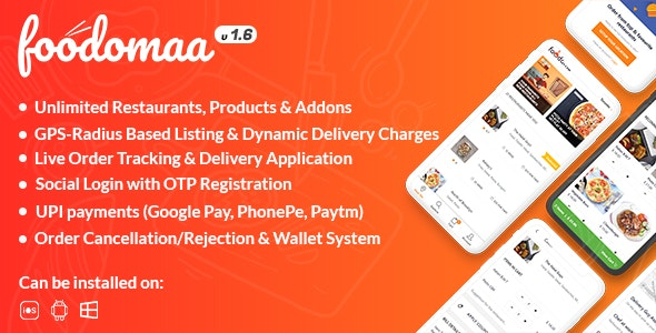 Foodomaa v2.9.2 Nulled (Multi-restaurant Food Ordering, Restaurant Management and Delivery Application)