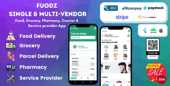 Fuodz v1.3.8 Nulled (Grocery, Food, Pharmacy Courier & Service Provider + Backend + Driver & Vendor app)
