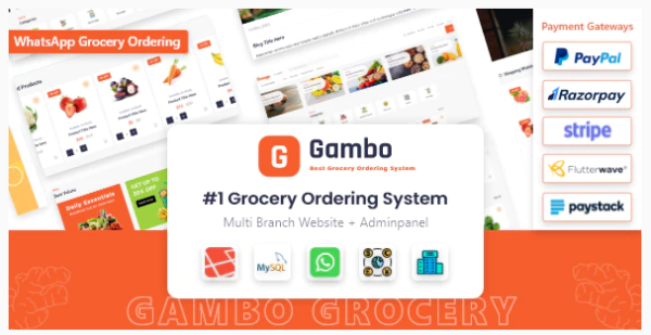 Gambo v6.1 Nulled (Online Grocery Ordering System + Whatsapp Order)