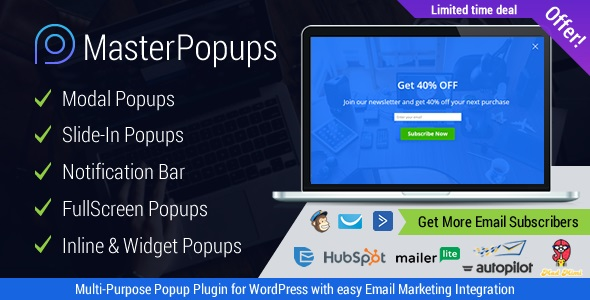 Master Popups v3.7.9 Nulled (WordPress Popup Plugin for Email Subscription)
