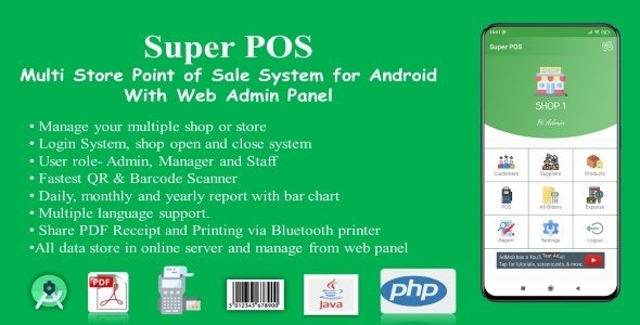 Super POS v1.2 Nulled (Multi Store Point of Sale System for Android with Web Admin Panel)