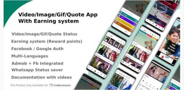 Video-Image-Gif-Quote App With Earning system v4.2 Nulled (Reward points)
